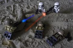 Ambush on Jakku (LegoLee) Tags: jakku starwars stormtrooper resistance bradbury desert weapons x100 fujifilm minifigure minifig lego war blaster vii firstorder