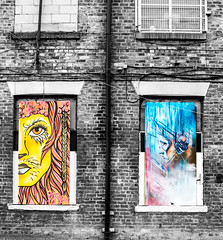 lion eyes and drama on the wall contrasts (PDKImages) Tags: urban streetart art mill abandoned beauty lady contrast manchester graffiti eyes colours anger lips fortune hidden angry drama fortuneteller unexpected teller liom