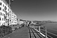 """Long Beach"" (giannipaoloziliani) Tags: shadows mare light palaces sky streetphotography nikond3200 giannipaoloziliani horizon road sidewalk genova italy people architectures walking monochromatic sea blackandwhite"