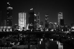 The spectacular night view of Sharq City (EHA73) Tags: aposummicronm1250asph leica leicamm typ246 nightphotography cityscape sharq marina boats towers skyscrapers kuwait sharqcity blackandwhite bw