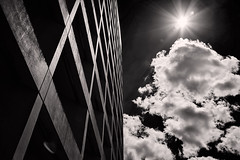 Concrete Sky (Joseph Eckert) Tags: concrete architecture sky cloud clouds building seattle downtown urban sun summer black white blackandwhite mono monochrome sony rx1r rx1 r c1 captureonepro captureonepro92