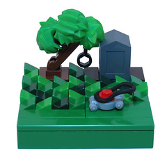 Weekend Chores (Grantmasters) Tags: tree lego lawn micro mower moc