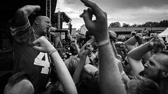 Sing-along (R o b b a n) Tags: rebroln sweden se iphone 6 bw monochrome white black singer live aro marco haunted stage festival metal metallsvenskan rebro ln blackandwhite crowd