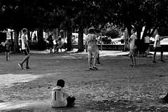 the loneliness of the goalkeeper (Stefano E) Tags: corporeno cento emiliaromagna blackandwhite buffon biancoenero strada street candid urban people football boys park candidstreet