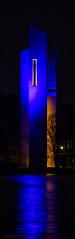 Carillon at night, Canberra, Australia (Theresa Hall (teniche)) Tags: australia australia2016 canberra carillon lakeburleygriffin blue bluecarillon bluereflection reflection water waterreflection