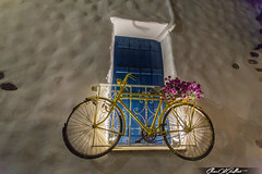 Ride back to the past. (Clear Of Conflict) Tags: art color greece naxos grecia byke bycicle old retro flowers nightlife light blue window cyclades summer holidays night canon 17mm