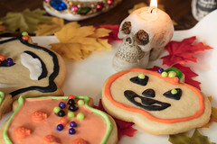 Halloween Cookies on a White Ceramic Plate (Transient Eternal) Tags: coffee events halloween tea activity baked baking black candle candy celebration ceramic colors cookies cup cutout decor decorated dough frosting green holiday holidays icing leaves mug orange plate plated setting shapes skull sugar sweet table white