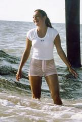 Pink shorts wet fun, 1978 (clarkfred33) Tags: wetfun wetadventure indianrocksbeach ocean waves splash wetclothes shortshorts pinkshorts 1978 wetlady attractive wade swim swimwear