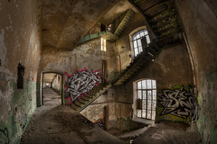Spiral. (Tomasz Aulich) Tags: spiral staircase windows stairs rust paint door factory fabric abandoned decay urban urbex fisheye nikon urbanexploration explorer building architecture poland d oldschool