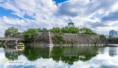 Osaka Castle and boat reflection (Kostas Trovas) Tags: panorama castle tradition composition hdrfromoneraw asia kostasimages nature water light city tourist canon frame flickr clouds culture instagram construction 6d outdoors beautiful travel symmetry architecture 500px sky reflection trees osaka japan eveninglight