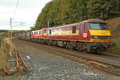90037 & 90040 Beck Foot, Cumbria (DieselDude321) Tags: 90037 90040 class 90 db dbs schenker cargo ews 6s94 0232 dollands moor sidings irvine caledonian paper beck foot low gill lowgill cumbria