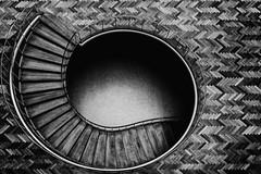 Slipping under, sliding down (Maerten Prins) Tags: denemarken denmark arhus aarhus cityhall radhus stairs stair trap treppen railing curve circle spiral wooden floor architectsarnejacobsenanderikmller blackandwhite monochrome explored