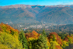 Sinaia, Romania (Camy487) Tags: city forest trees mountains colors autumn green yellow blue chill fog mood nature nikon d3100 peisaje woods bright new