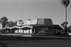 Denny's Restaurant, Riverside, CA. (lammyracer) Tags: dennys googie riverside 35mm film blackandwhite