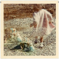 The Ghosts of Easter Past (Alan Mays) Tags: ephemera photographs photos foundphotos colorphotos snapshots doubleexposures easter holidays rabbits bunnies animals easterbunny toys playing walking running children girls clothes clothing coats gravel stones doubles ghostly mysterious strange unusual semitransparent flawed borders blue pink old vintage vptp ghostlygirls ghostlygirl ghostgirl ghostgirls