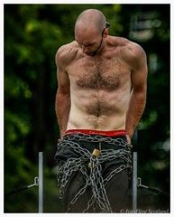The Escapologist (FotoFling Scotland) Tags: chest edinburgh edinburghfestivalfringe escapologist fringesunday meadows bondage calvinklein chains hairy