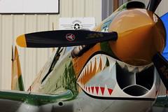 Curtiss P-40 Warhawk (iamsam2407) Tags: fall museum night creek fly flying power expo air north flight days airshow b17 american cedar corsair boeing mustang douglas lockheed skytrain dc3 fortress zero caf mitsubishi texan radial t6 c47 stearman gulfstream p51 b29 superfortress tbm curtiss grumman avenger lodestar cavanaugh 2014 tora p40 warhawk f4u helldiver pt17 fg1d 2013 sb2c g650