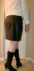 Leather Mini 'n Boots (Cowgirl Boot Fan) Tags: highheels miniskirt kneehighboots leatherskirt colinstuart