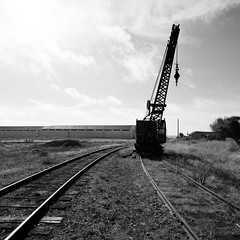 crane train (eb78) Tags: california ca railroad blackandwhite bw monochrome traintracks tracks railway rails mendocino grayscale fortbragg greyscale