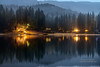 Winter Night on the Lake - Bass Lake (Darvin Atkeson) Tags: christmas sunset moon lake mountains misty fog clouds reflections evening glow market smoke nevada shoreline sierra resort shore drought moonlight basslake darvin darv lynneal yosemitelandscapescom