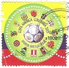 Colombia stamp, 2001 (sftrajan) Tags: postagestamp philately poštovníznámka 郵便切手 sello estampilla почтоваямарка stamp znaczekpocztowy colombia colombian 2001 copaamerica red yellow blue rojo azul amarillo soccer football cup филателия philatelie 郵便趣味