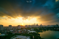 Rush Light (HakiimMislam) Tags: city longexposure sunset cloud lake big cityscape cloudy tokina filter lee kualalumpur ci kl klcc stopper gnd 09s