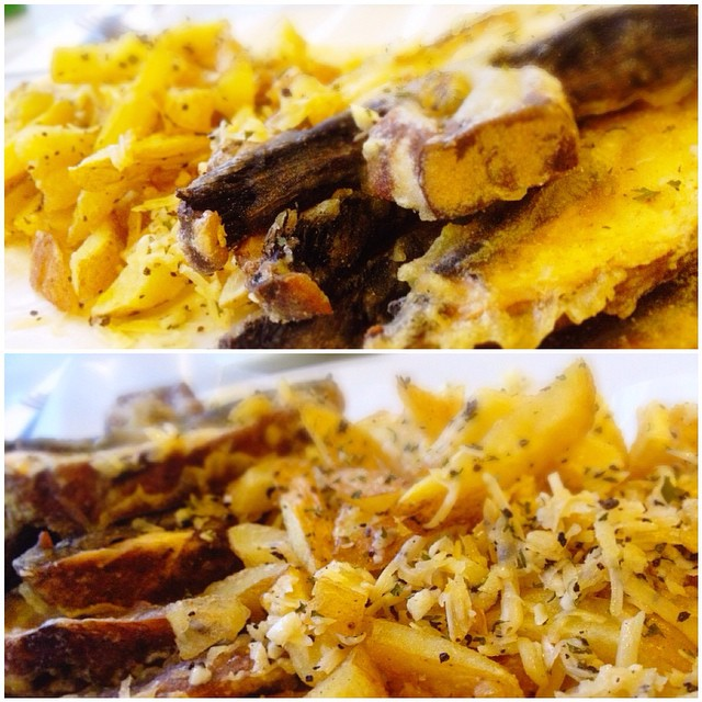 I may be a little out of line here, but who can resist these two authentic beauties? We call them CPF and GBF.   Cumin-salted Portobello Fries and Garmesan Bacon Fries. (Garmesan is our own creation of garlic + Parmesan). I think Ive said enough.   #shar