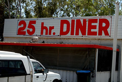 25 Hour Diner (cowyeow) Tags: travel sign restaurant weird funny desert time painted australia diner odd 25 irony wa ironic westernaustralia funnysign roadhouse 25hours