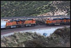 Meet in Sullivan's Curve (K-Szok-Photography) Tags: california canon trains socal transportation canondslr bnsf locomotives railroads desertmountains cajonpass 50d canon50d sbcusa kenszok trainsinaction cajona kszokphotography