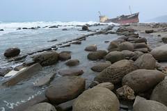 Ship Wreck on Rocks, Pingtung 2 (Bob Hawley) Tags: seascape outdoors rocks asia ships taiwan beaches wrecks piri pingtung nikon1755f28 nikond7100 nanrenlu