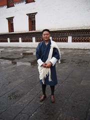 My guide in Bhutan with his traditional dress they need to wear during their office hours!