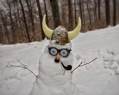 Skjalg, the crack smoking Viking Snowman. (Dead Betty) Tags: winter snow cold snowman helmet pipe horns crack moustache snowing february helmut viking