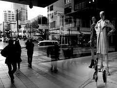 Corner (Steven Sutterby) Tags: seattle street city people black contrast reflections photography blackwhite cityscape streetphotography illusion iconic stevensutterby