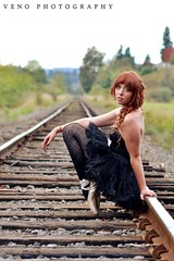 (parrish_sierra) Tags: red nature girl beauty train ballerina ribbons natural tracks curls rail dancer tights redhead teen pointe naturalbeauty tutu leotard pointeshoes baledancer