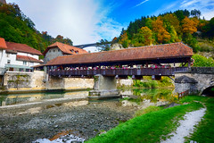 Covered Bridge in Fribourg, Switzerland (` Toshio ') Tags: autumn fall water river switzerland europe european path coveredbridge fribourg toshio xe2 bernbridge fujixe2 lasarineriver
