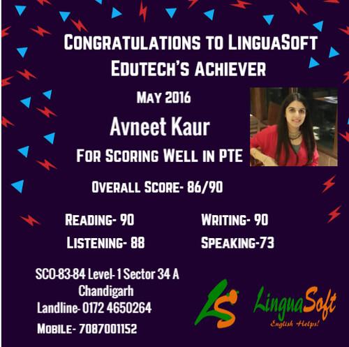 Avneet Kaur - Overall PTE score 86