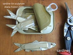 tin fish sculpture (A L A N A) Tags: sardine mackerel flounder barramundi herring tin wiss sheetmetal tinsnips sculpture fish fishing seafood australia emboss saddletail tincan aluminium