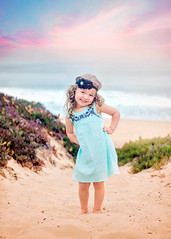 Vera (Simplymichelle) Tags: actionsandtexturesbymichellenicole monterey ocean beach sea water hills sand dunes plants clouds pose cute adorable dreamy lovely child childhood 3 years old headband dress sandy