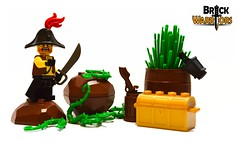 Enemy spotted! (BrickWarriors - Ryan) Tags: brickwarriors custom lego minifigure weapons helmets armor bicorn hat pirate colonial ship captain cutlass lantern fort