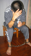 Extra heavy handcuffs & leg irons (asiancuffs) Tags: handcuffs handcuffed arrest arrested inmate prisoner shackles shackled