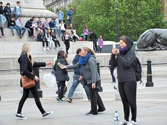 Trafalgar Square Tourists (Waterford_Man) Tags: london girl street people tourists path candid jeans
