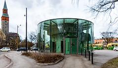 P (Jori Samonen) Tags: building round glass elevator lift national museum tower hakasalmi villa car plant tree cloudy aurorankatu etutl helsinki finland nikon d3200 180550 mm f3556 nikond3200 180550mmf3556