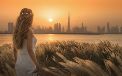 SUMMER'S END (Titanium007) Tags: dubai unitedarabemirates grass sunset skyline skyscrapers orange beautiful beautifullady burjkhalifa