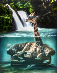 Chillin' (clabudak) Tags: couch giraffe fish pond waterfall forest surreal sunglasses