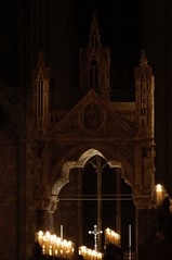 Alter view (N'GOMAPHOTOGRAPHY) Tags: peterborough cathedral nightshoot night candles gothic masonry stonework woodwork carvings stainedglass window jesus cross crucifixion