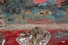 Beautiful Decay (Chris Huddleston) Tags: paint chipped decay peeling dirty chipping red dusty sediment cracking turquoise white