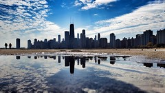Our skyline (CzechInChicago) Tags: chicago skyline panorama horizon city downtown architecture horizontal reflection puddle puddlegram puddlemasters lake chitecture clouds cloudporn blue beach