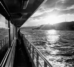 Evening Ferry 3 (blueP739) Tags: olympus om4 om1n olympusom om3ti om2sp om10 om1 om2n om3 olympusom1 orange olympusplustekplustek7200om4 plustek7200 plustek pussy bw blackwhite ilford id11 id1111 wideangle istanbul tulip turkey turkishphotography bosphorus film ferry water wave sunset specular vivitar19mm kentmere100