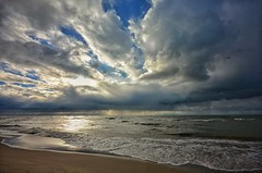 Break in the Clouds (mswan777) Tags: beach sand sky cloud shore seascape nature lake michigan autumn water waves sunset nikon d5100 sigma 1020mm evening whitecaps great lakes scenic peaceful wind rain