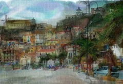 Street in Scilla Italy (Bob Smerecki) Tags: auto autumn trees red italy orange streets fall leaves smart yellow digital pencil boats photo back artwork italian graphics dynamic drawing paintings sketching bob illustrations drawings pastels painter editor roads watercolors scilla oils colorization x64 sketchings akv